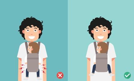 correto posicionamento do bebê no sling